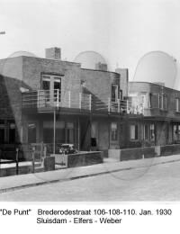 De punt, Brederodestraat 106-108-1110, Sluisdam - Elfers - Weber, Januari 1930
