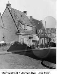 Marnixstraat 1, dames Kok, Januari 1935