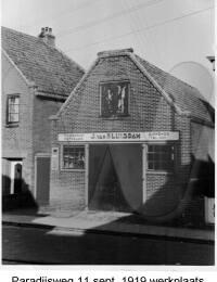 Paradijsweg 11 werkplaats, September 1919, J. van Sluisdam